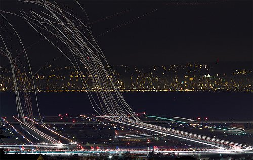 SFO Congestion at Night, Runways 17L and 17R, San Francisco International Airport (SFO),  July 17,2009. Photo Credit Terence Chang/Flickr